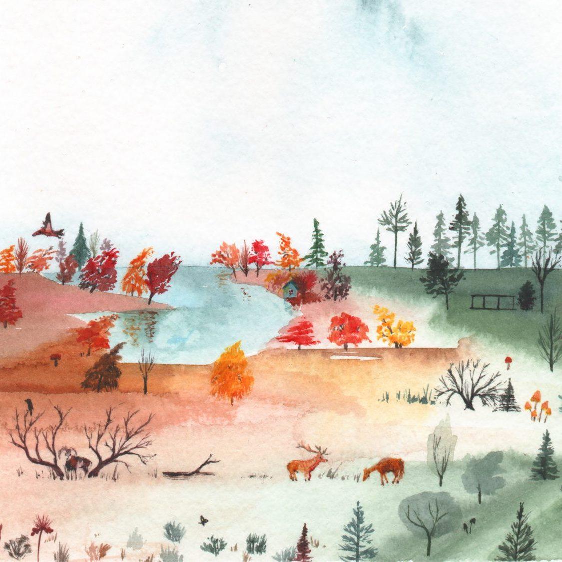 Watercolour landscape for a calendar