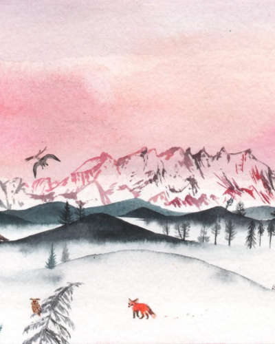 Monte Rosa watercolour landscape for a calendar