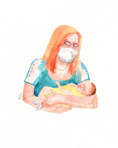 Grandmother with grandchild wearing a face mask