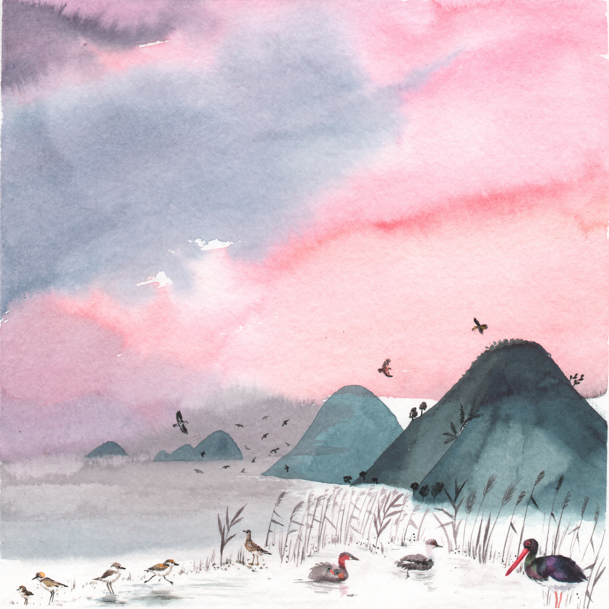 Watercolour landscape in Aeolian Islands, illustration for a calendar