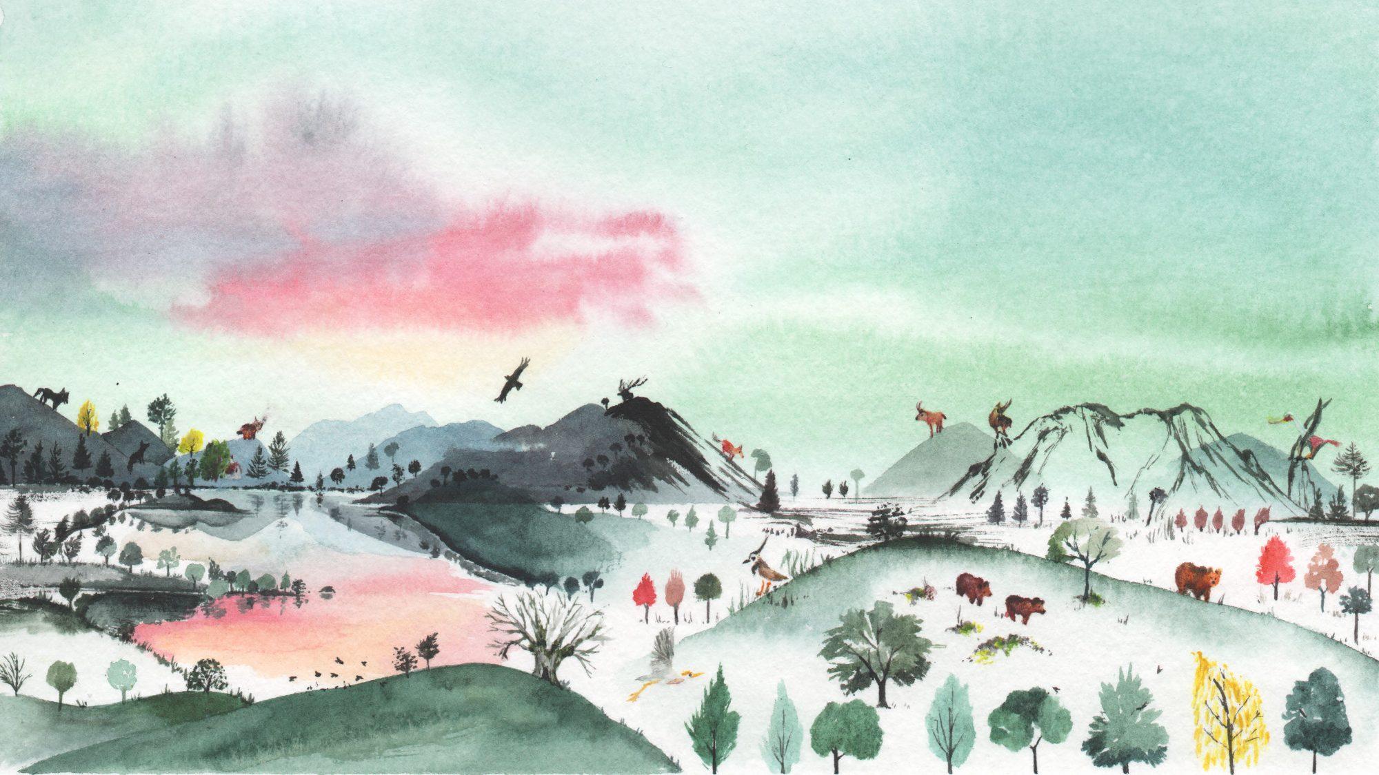 Watercolour landscape in Parco Nazionale d'Abruzzo for a calendar